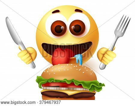Emoji Eating Hamburger Character Vector Design. Emoji Starving Emoticon While Holding Knife And Fork
