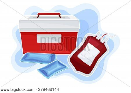 Portable Fridge Or Cooler For Transporting Donor Organs And Blood Vector Composition
