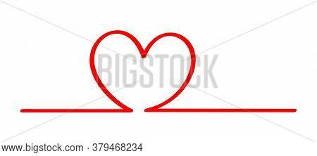 Doodle Heart Shape In A Line Red Isolated On White, Red Heart Shape On A Line Strip Row, Heart Shape