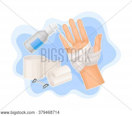 Bandaged Hand And Roll Of Medical Bandage For First Aid Treatment Vector Illustration