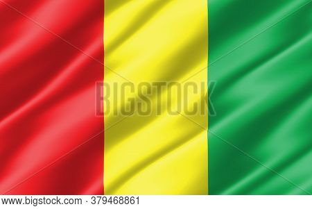 Silk Wavy Flag Of Guinea Graphic. Wavy Guinean Flag 3d Illustration. Rippled Guinea Country Flag Is