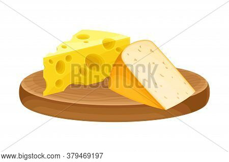Cheese Slabs Rested On Wooden Board As Dairy Product Vector Illustration