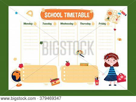 Template School Timetable With Day Of Week In English. Cute Schedule For Student Or Kids With Girl I