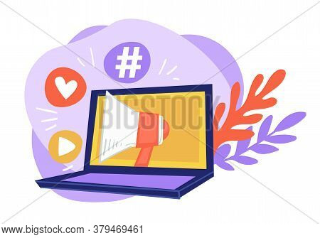 Laptop With Megaphone, Likes And Hashtags, Online Marketing