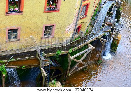 Mill wheels on stream Leuk ( too Leukbach ) in Saarburg Rheinland-Pfalz Germany summer poster
