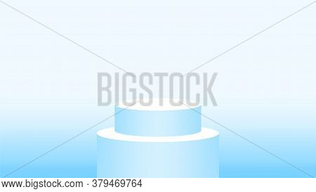 3d Pedestal Cylinder Circle Soft Blue For Cosmetics Showcase, Podium Circle Stage Blue Pastel Soft C