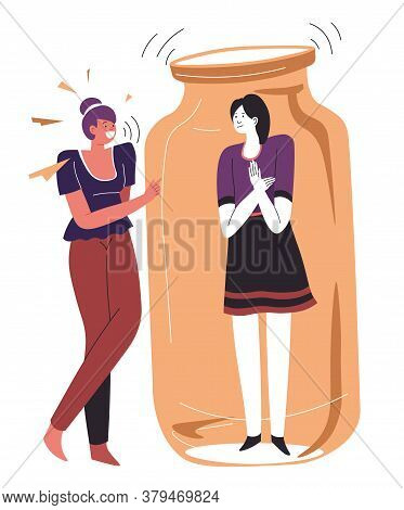 Uncomfortable Chat For Introverted Person, Woman In Jar