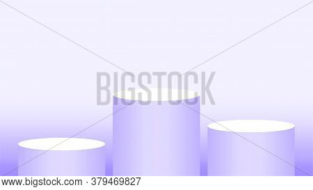 Purple Pedestal Cylinder Circle 3 Steps For Cosmetics Showcase, Podium Circle Stage Purple Pastel So