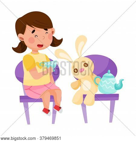 Little Girl Drinking Tea With Her Fluffy Hare Toy Vector Illustration