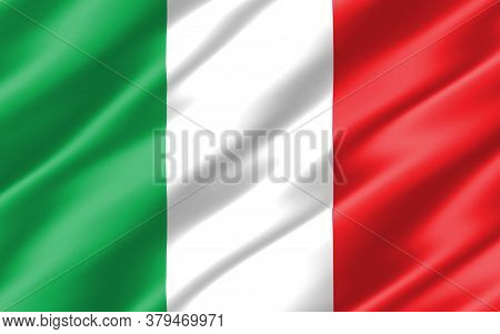 Silk Wavy Flag Of Italy Graphic. Wavy Italian Flag 3d Illustration. Rippled Italy Country Flag Is A