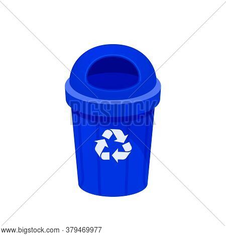 Blue Bin Isolated On White, Clip Art Of Recycle Bin Small, Illustration Blue Bin Plastic
