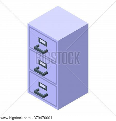 Archive Drawer Storage Document Icon. Isometric Of Archive Drawer Storage Document Vector Icon For W