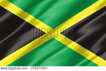 Silk Wavy Flag Of Jamaica Graphic. Wavy Jamaican Flag 3d Illustration. Rippled Jamaica Country Flag