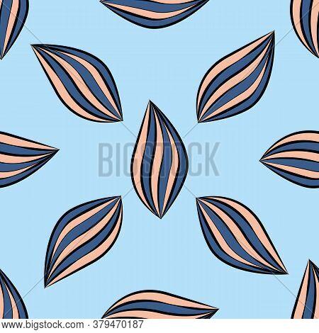 Linocut Style Leaves Botanical Seamless Vector Pattern Background. Backdrop Of Scattered Cobalt Blue