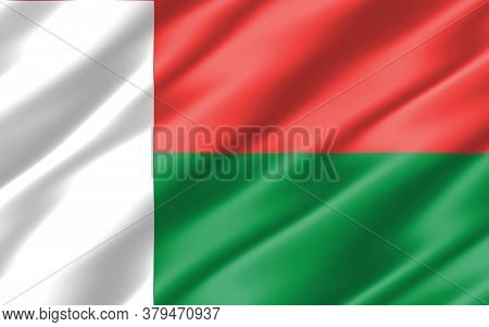 Silk Wavy Flag Of Madagascar Graphic. Wavy Malagasy Flag 3d Illustration. Rippled Madagascar Country