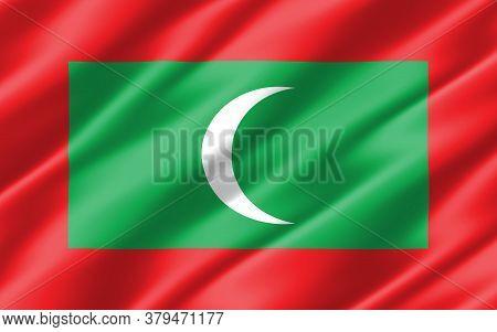 Silk Wavy Flag Of Maldives Graphic. Wavy Maldivian Flag 3d Illustration. Rippled Maldives Country Fl