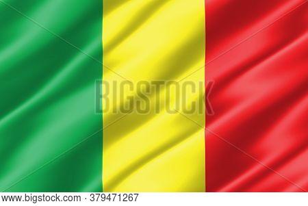Silk Wavy Flag Of Mali Graphic. Wavy Malian Flag 3d Illustration. Rippled Mali Country Flag Is A Sym