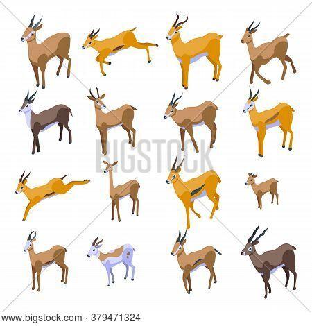 Gazelle Icons Set. Isometric Set Of Gazelle Vector Icons For Web Design Isolated On White Background