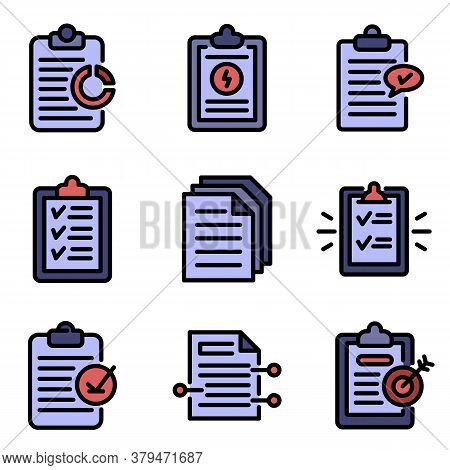 Summary Icons Set. Outline Set Of Summary Vector Icons Thin Line Color Flat On White