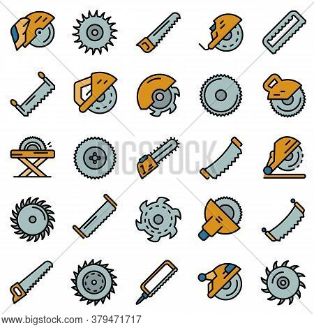Saw Icons Set. Outline Set Of Saw Vector Icons Thin Line Color Flat On White