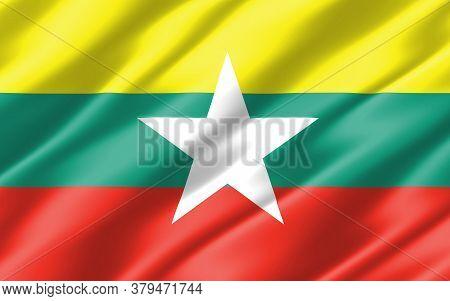 Silk Wavy Flag Of Myanmar Graphic. Wavy Burmese Flag 3d Illustration. Rippled Myanmar Country Flag I