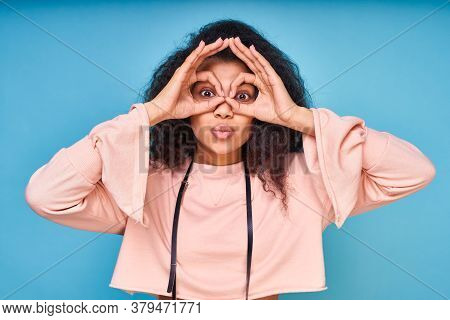 Cute Attractive African American Woman With Black Curly Hair, Showing Ok Gestures With Both Hands, P