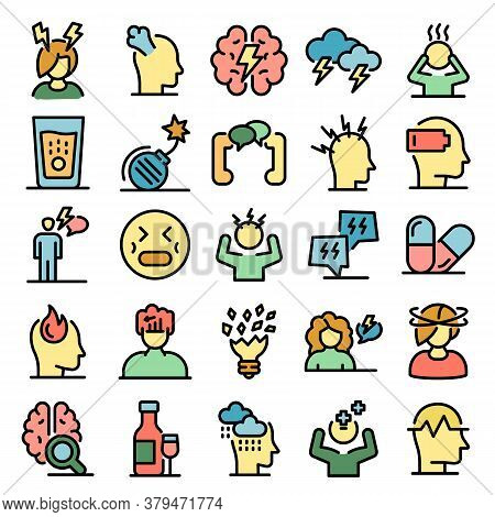Stress Icons Set. Outline Set Of Stress Vector Icons Thin Line Color Flat On White