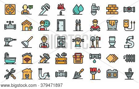 Repairman Icons Set. Outline Set Of Repairman Vector Icons Thin Line Color Flat On White