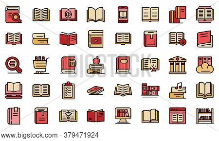 Library Icons Set. Outline Set Of Library Vector Icons Thin Line Color Flat On White