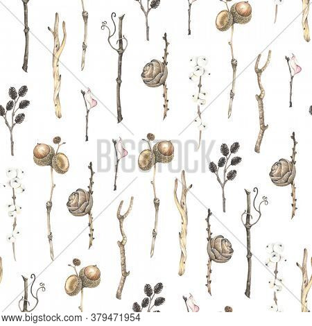 Watercolor vertical seamless pattern with dry branches tree alder, grapes, winter berry, birch, acorn on oac branch and pine cone. Autumn and winter illustration in vintage style on white background.