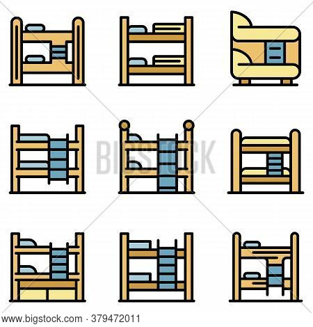 Bunk Bed Icons Set. Outline Set Of Bunk Bed Vector Icons Thin Line Color Flat On White