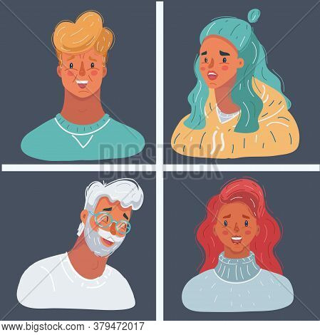 Vector Illustration Of People Face Collection On Dark Background. Famale And Male Avatar. Man And Wo