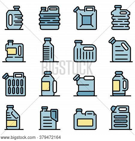 Canister Icons Set. Outline Set Of Canister Vector Icons Thin Line Color Flat On White