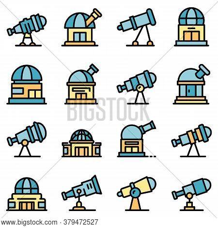 Planetarium Icons Set. Outline Set Of Planetarium Vector Icons Thin Line Color Flat On White