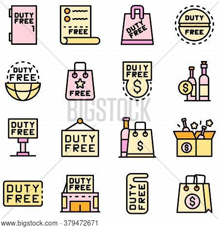 Duty Free Shop Icons Set. Outline Set Of Duty Free Shop Vector Icons Thin Line Color Flat On White