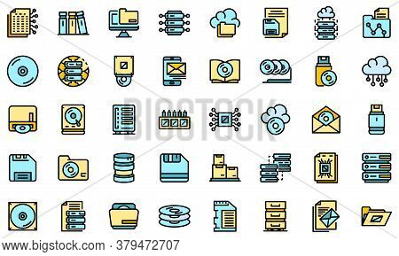 Storage Icons Set. Outline Set Of Storage Vector Icons Thin Line Color Flat On White