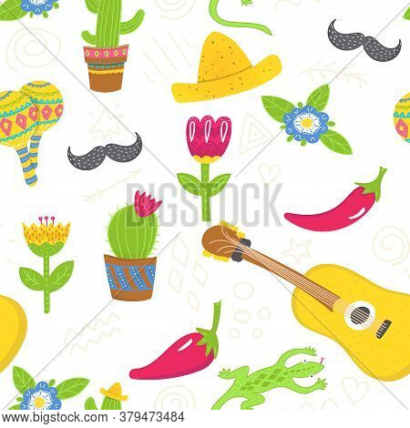 Cartoon Seamless Pattern In Mexican Style. Succulens, Sombreros, Flowers, Guitar And Moustache Upon