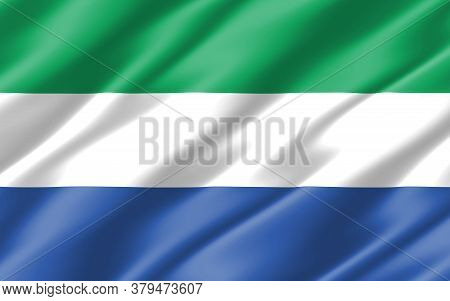 Silk Wavy Flag Of Sierra Leone Graphic. Wavy Sierra Leonean Flag 3d Illustration. Rippled Sierra Leo