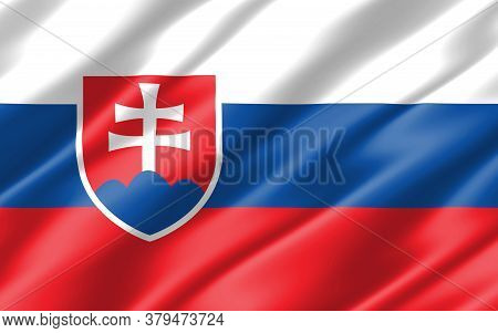 Silk Wavy Flag Of Slovakia Graphic. Wavy Slovak Flag 3d Illustration. Rippled Slovakia Country Flag