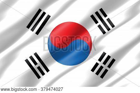 Silk Wavy Flag Of South Korea Graphic. Wavy South Korean Flag 3d Illustration. Rippled South Korea C