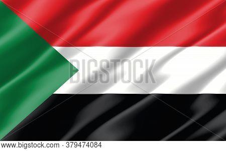 Silk Wavy Flag Of Sudan Graphic. Wavy Sudanese Flag 3d Illustration. Rippled Sudan Country Flag Is A