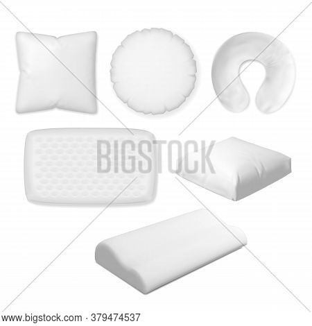 Sleep Pillow. Vector Textile, Soft, Memory Foam Pillow, Orthopedic Bedroom Cushion Different Shape S
