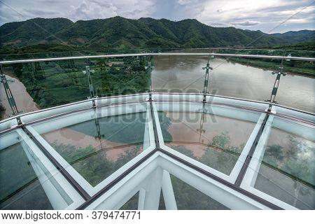 Beautiful Glass Sky Walk At Viewpoint New Landmark Thailand Skywalk, At Phra Yai Phu Khok Ngio Chian