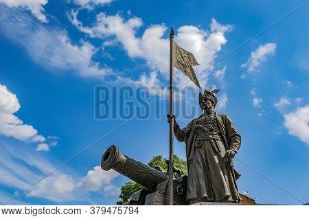 Kharkiv, Ukraine - July 20, 2020: The Bronze Statue Of The Great Otaman Ivan Sirko In Kharkov Agains