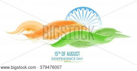 Illustration Of Abstract Tricolor Banner With Indian Flag For 15th August Happy Independence Day Of