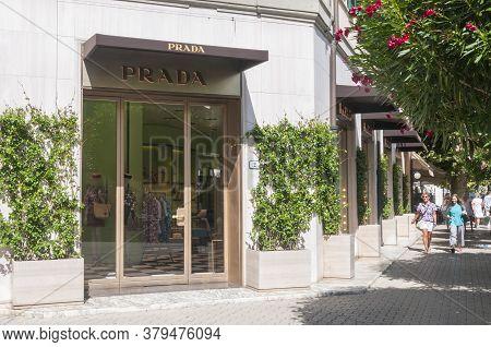 Forte Dei Marmi, Italy - August 4, 2020 - Prada Retail Store Main Entrance In Forte Dei Marmi, Italy
