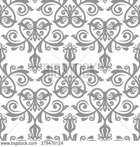 Classic Seamless Vector Gray And White Pattern. Damask Orient Ornament. Classic Vintage Background.
