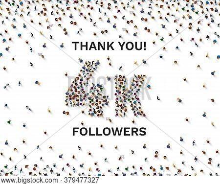 Thank You Followers Peoples, 4k Online Social Group, Happy Banner Celebrate, Vector