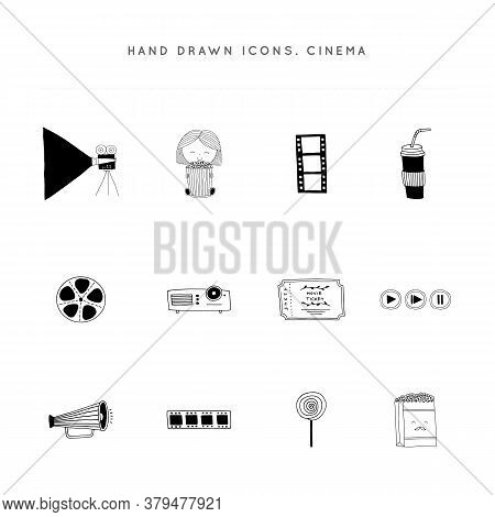 Cinematography Illustrations And Logo Elements, Cinema Isolated Objects. Set Of Vector Hand Drawn Ic