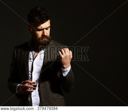 Sommelier With Beard Tasting Alcohol. Partying And Drinking Concept